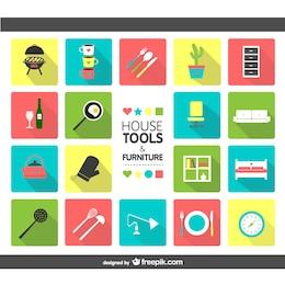 Casa ferramentas e ícones de mobiliário