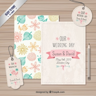 Casamento cartões e etiquetas