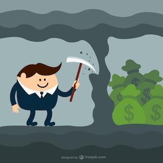 Cavando para o dinheiro dos desenhos animados