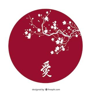 Cereja silhueta flor