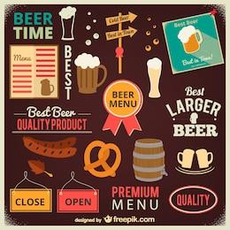 Cerveja e ícones da barra de coleção
