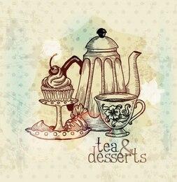 Chá europeu e sobremesa pintura fundo do vetor