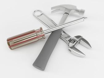 Chave, chave de fenda e um martelo