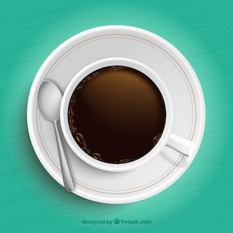 Chávena de café em vista de cima