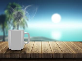 Chávena de café fumegante