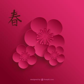 A flor de cerejeira em tons de rosa escuro