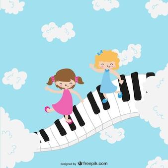 Crianças no teclado de piano