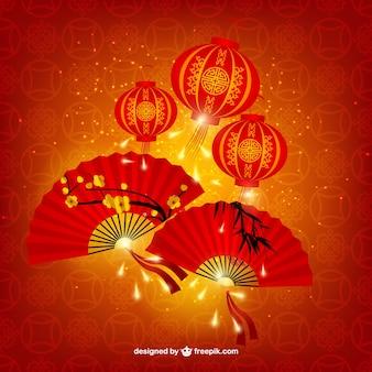 Lâmpadas chinesas e fãs