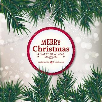 Cartão de Natal com fita vermelha
