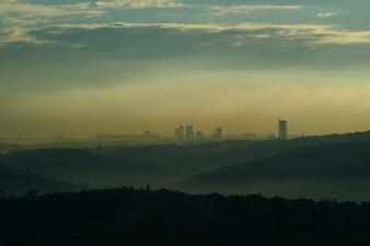 Cidade com a poluição