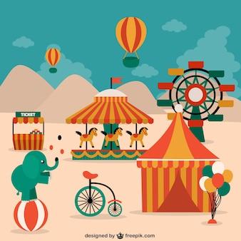Elementos de circo, animais e decorações