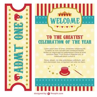 Poster do circo e pacote de bilhete