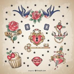 Clássico set amor tatuagem