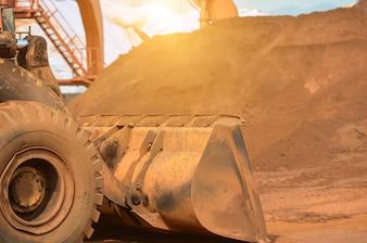 Close-up, construção, local, escavadora