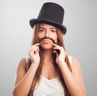 Closeup expressão engraçada cabelo bigode