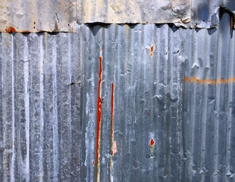 Closeup Rusty Corrugated Zinc Sheet Wall