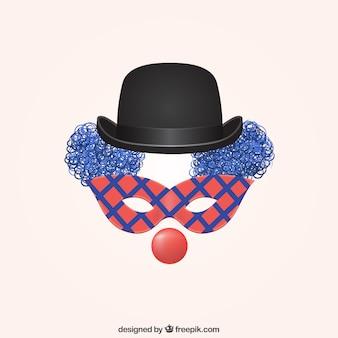 Palhaço com máscara de carnaval