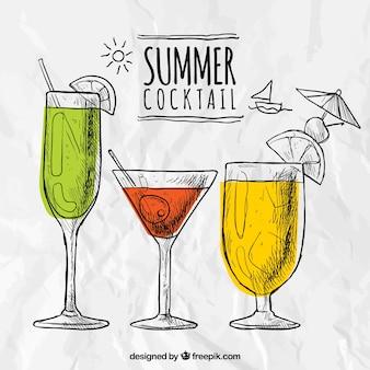 Cocktails de verão esboçado