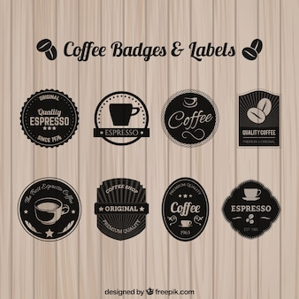Emblemas e etiquetas de café
