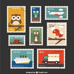Coleção bonito post stamps