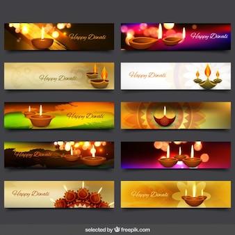 Coleção das bandeiras do Diwali