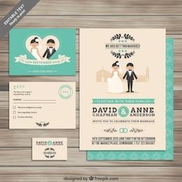 Coleção de convites de casamento