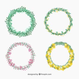 Coleção de coroas de flores