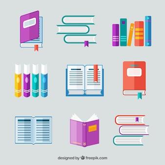 Coleção de livros em design plano