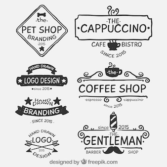 Coleção desenhada mão logos no estilo retro