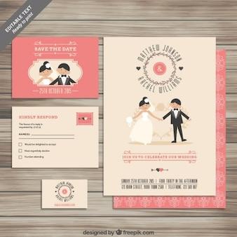 Coleção do convite de casamento bonito