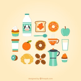 Coleção dos ícones do café da manhã