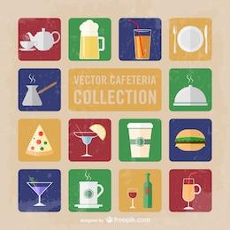 Coleção dos ícones do vetor cafeteria