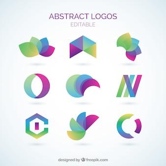 Coleção logos abstrato colorido