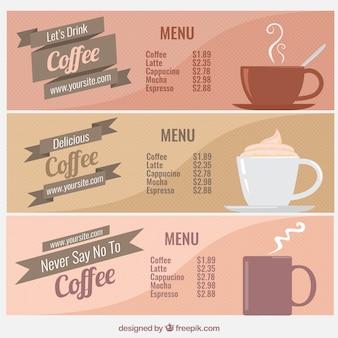 Coleção menus de café do vintage