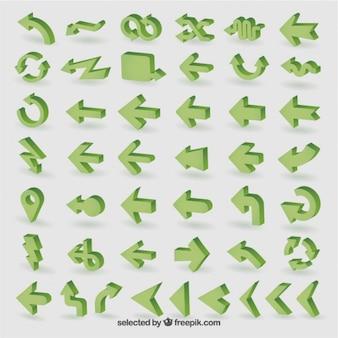 Coleção setas verdes