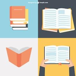 Colecção de livros em design plano