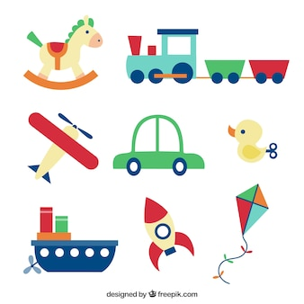 Coleta de brinquedos coloridos