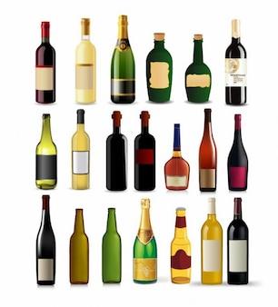 Coleta de garrafas - conjunto de diferentes tipos de bebidas e garrafas