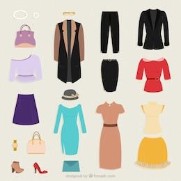 Coleta de roupas para a mulher