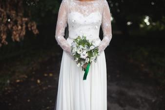 Colher noiva com buquê