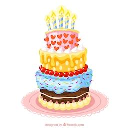 Colorful bolo de aniversário ilustração