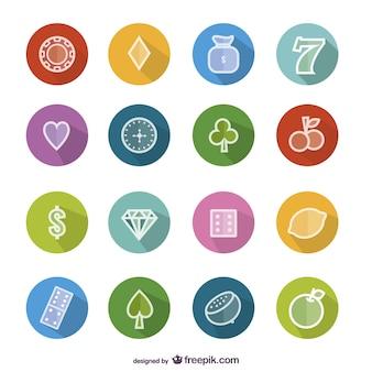 ícones coloridos de casino