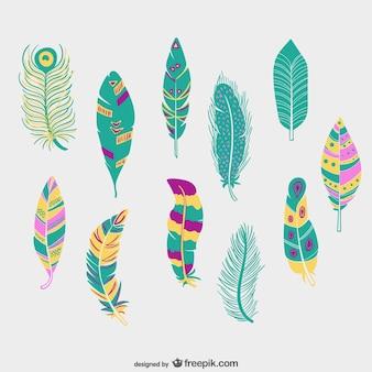 Penas coloridas embalar