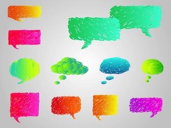 Colorido dos desenhos animados discurso bolhas vector