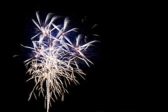 Colorido, fogos artifício, noturna, céu