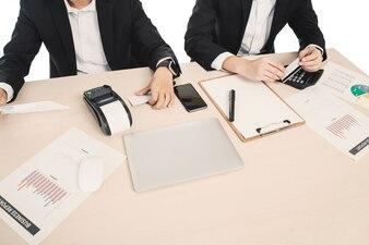 Companhia, analista, pessoa, economia, sentando