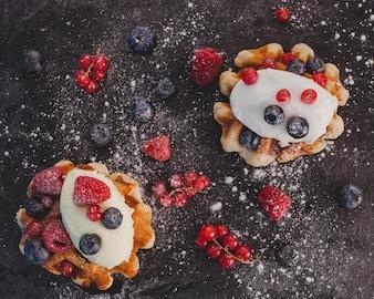 Composição artística com waffles