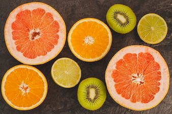 Composição colorida de citros
