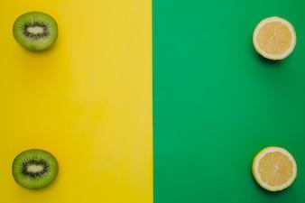 Composição de Kiwi e lemmon com espaço de cópia central