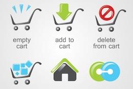 Compras, E-Commerce logotipos, ícones